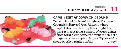 Exploit Boston Game Night tidbit in the Boston Metro newspaper