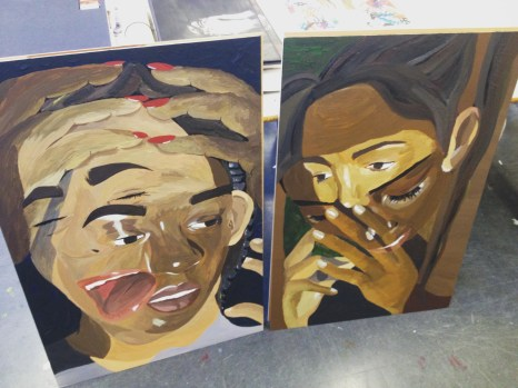 overlays; acrylic paint on wood