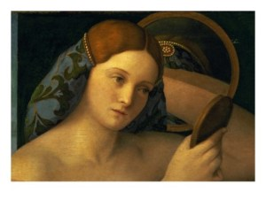 Detail from Young Woman in Front of the Mirror, by Giovanni Bellini, c.1515 [Wikipedia]