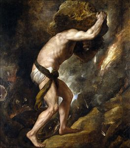 Sisyphys, Pushing the Boulder Up the Hill, 1548-49, by Titian.