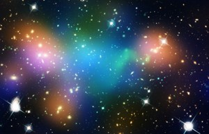 The galaxy cluster Abell 520, from the Hubbel Telescope image gallery. Photo courtesy of the Hubbell Gallery, NASA.