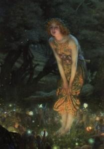 Midsummer Eve, 1908, Edward Robert Hughes. Public domain image courtesy of WikiMedia.