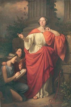 Jadwiga Łuszczewska posing as Deotyma of Mantinea, 1855, by Jozef-Simmler. Public domain photo, WikiCommons.