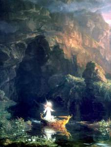 The first of the Voyage of Life paintings by my fellow Imbolc-born Aquarian Thomas Cole (1801- 1848). Public domain image courtesy of WikiMedia.