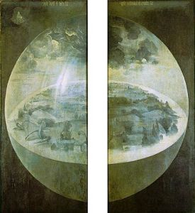 Exterior shutters of The Garden of Earthly Delights, by Hieronymous Bosch c. 1480-90. Public domain image courtesy of Wikimedia.