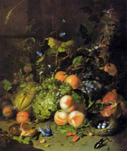 Cornucopia, by Rachel Ruysch (3 June 1664 – 12 August 1750). Public domain image courtesy of Wikimedia.