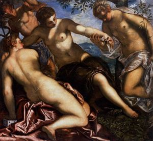 Mercury and the Three Graces, 1576-77, by Jacopo Tintoretto. Public domain image courtesy of Wikimedia.