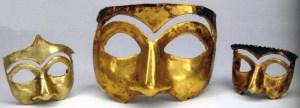 Golden mask excavated in Kalmakareh, Lorestan, Iran. First half of first Millennium BC. National Museum of Iran. CC-SSA via Wikimedia.