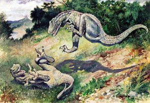 """The 1897 painting of fighting """"Laelaps"""" (now Dryptosaurus) by Charles R. Knight. PD-US, Wikimedia."""