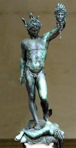 Perseus with Medusa's Head, bronze sculpture by Benvenuto Cellini (1500-1571), Florence. GNU-free/Creative Commons mage courtesy of Morio via WikiMedia.