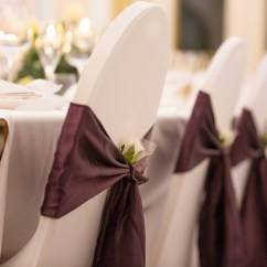 Wedding Chair Covers Doncaster Folding Lot Sophia S Final Touch Plum Satin Sash With Lycra Cover Venue Styling Weddings