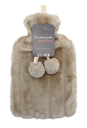 Cosy faux fur hot water bottle mink