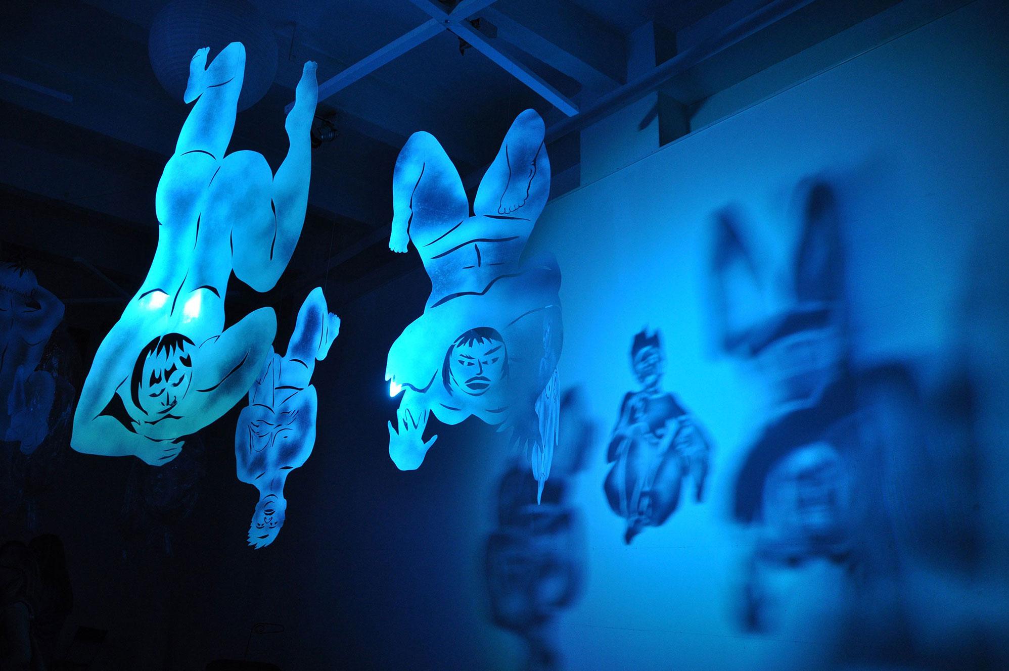 """Installation """"Les Pantins"""" à la Galerie l'Aiguillage en 2012"""