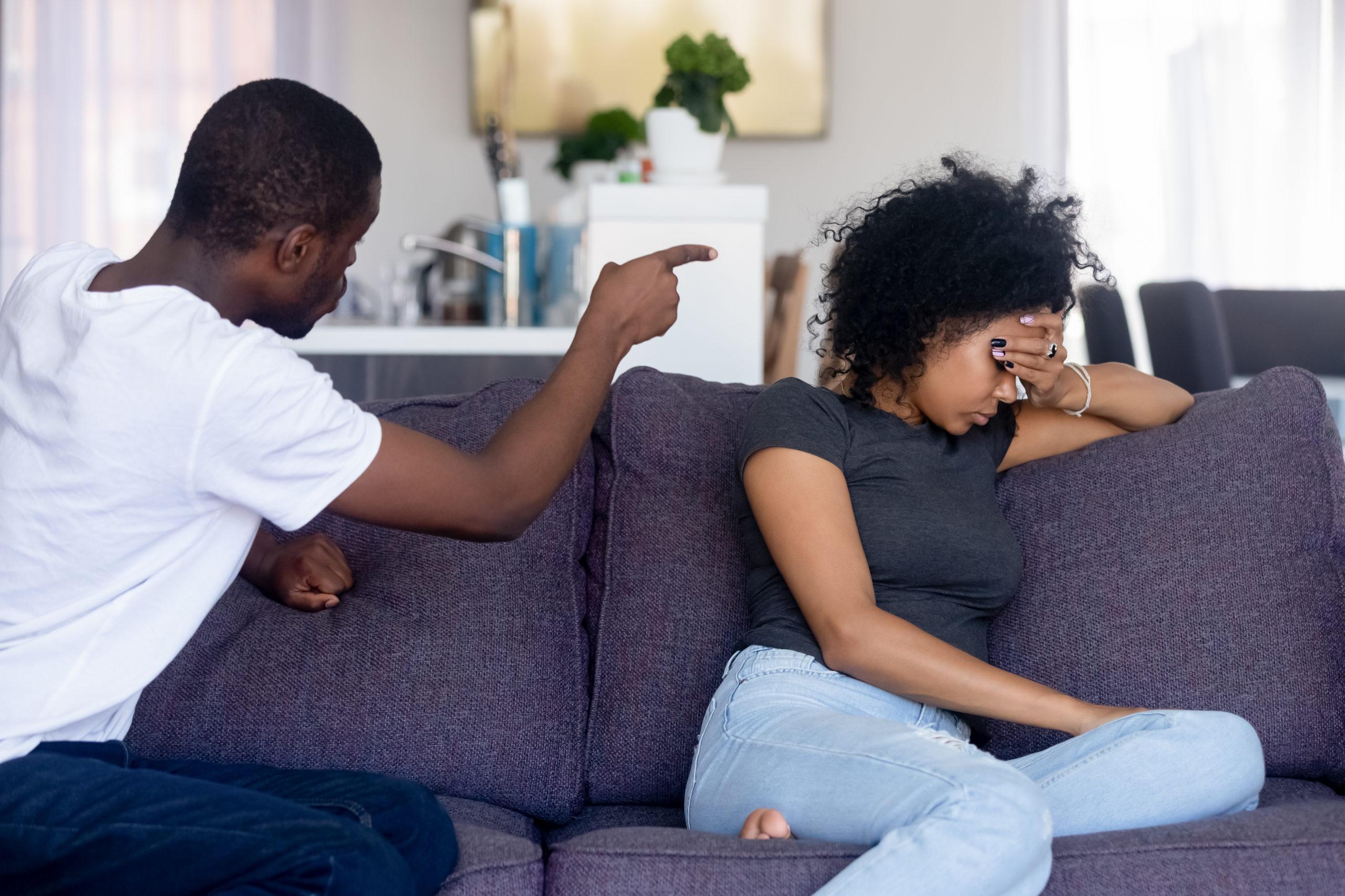 Angry African American Man Quarreling Shouting At Upset
