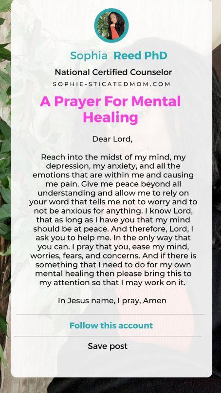 A Prayer For Mental Healing