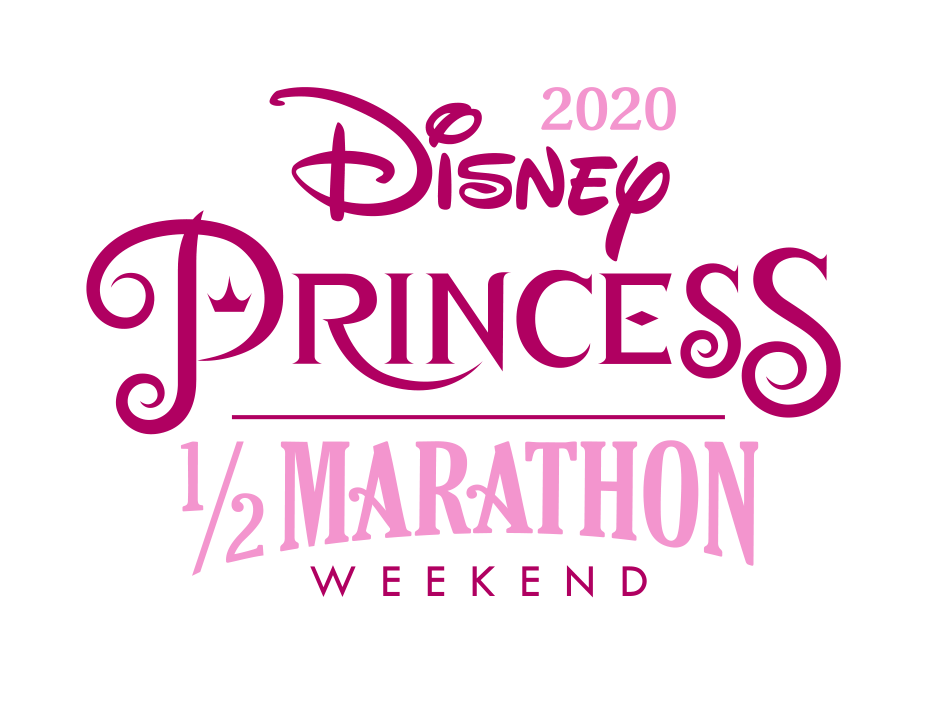 Image shows the RunDisney 2020 Princess Half Marathon Weekend written in two tones of pink on a white background