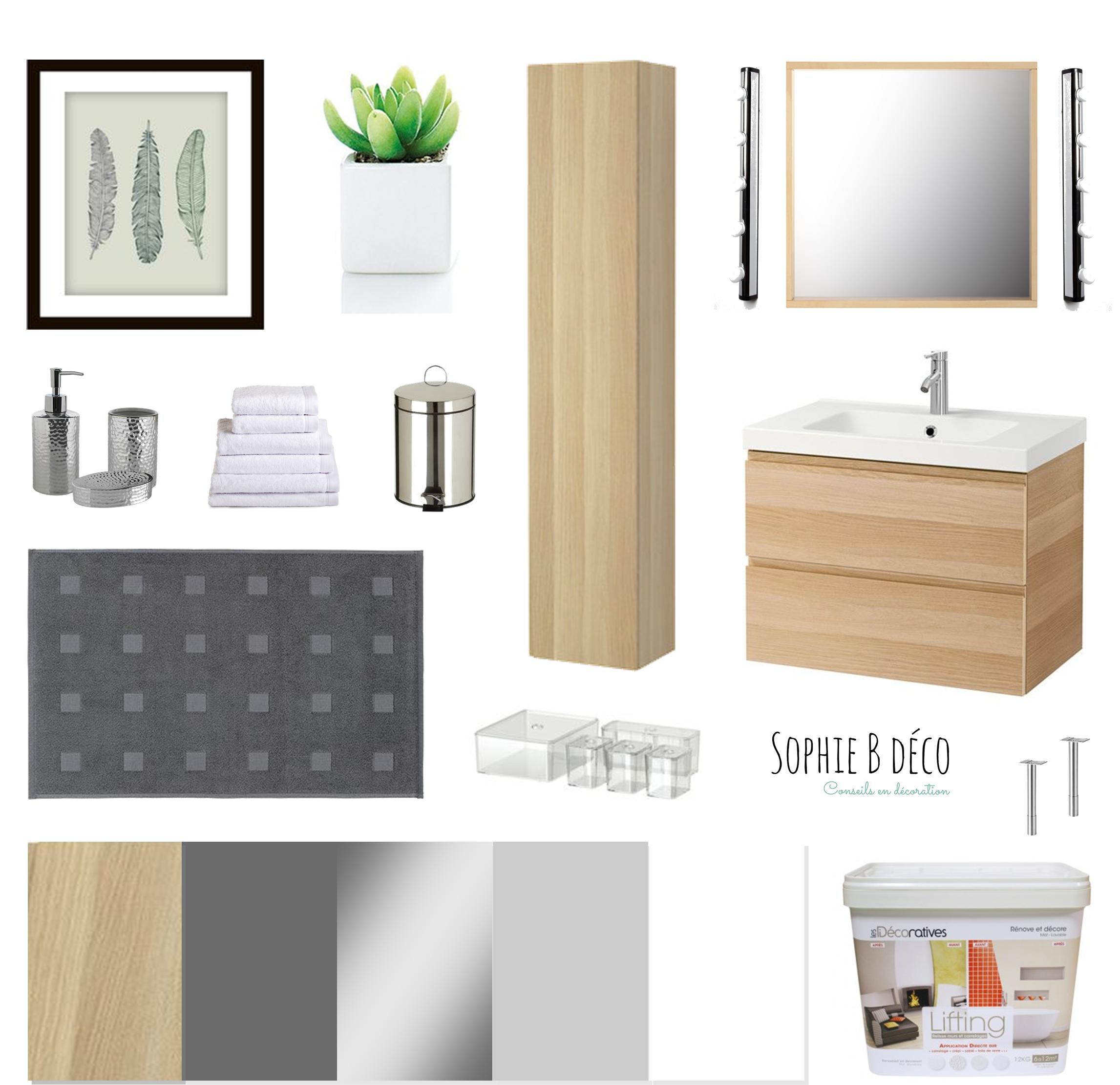 Salle de bain  Rnovation en gris blanc et bois