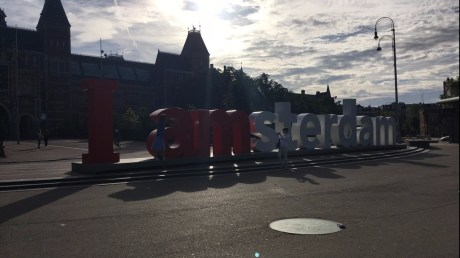 I Amsterdam Sign in the morning sun
