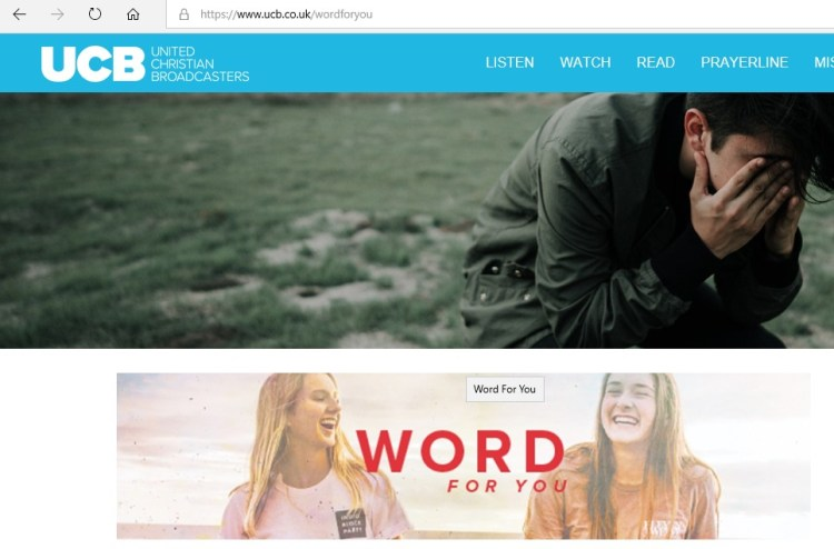Screen shot and link to UCB and encouraging spiritual media broadcaster