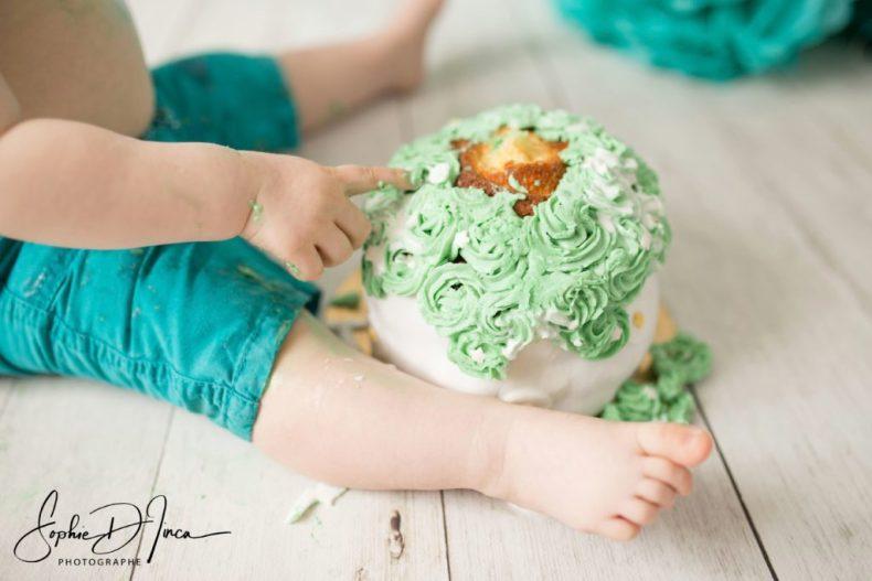 Fêter ses 1 an - Anniversaire - Sophie d'Inca - Malestroit 56140 - Morbihan - Gros plan Smash the Cake Emile