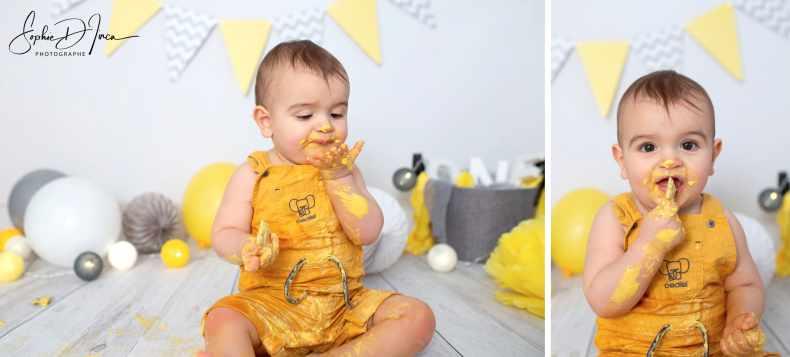 séance photos smash the cake gris et jaune 56