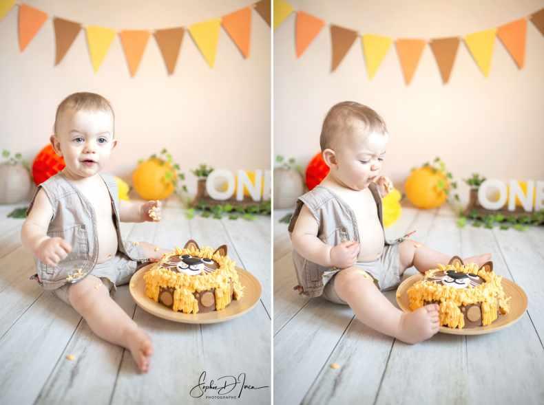 smash the cake orange jaune savane Sophie d'inca photographe morbihan 56