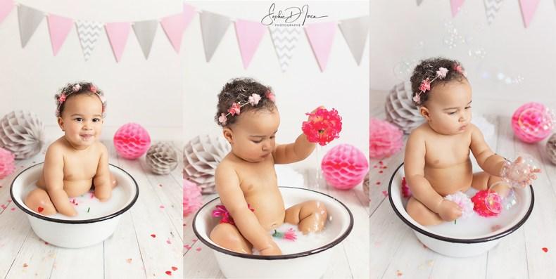 smash the cake-bain de lait- bébé-fille-gris et rose