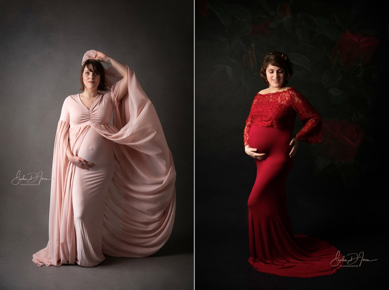 robes-photos-grossesse-maternité-rouge-rose