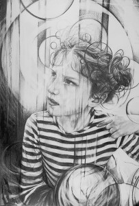 """""""the magic of Childhood"""". A2 graphite on watercolour paper. Contact the Art Project Cardiff for details"""