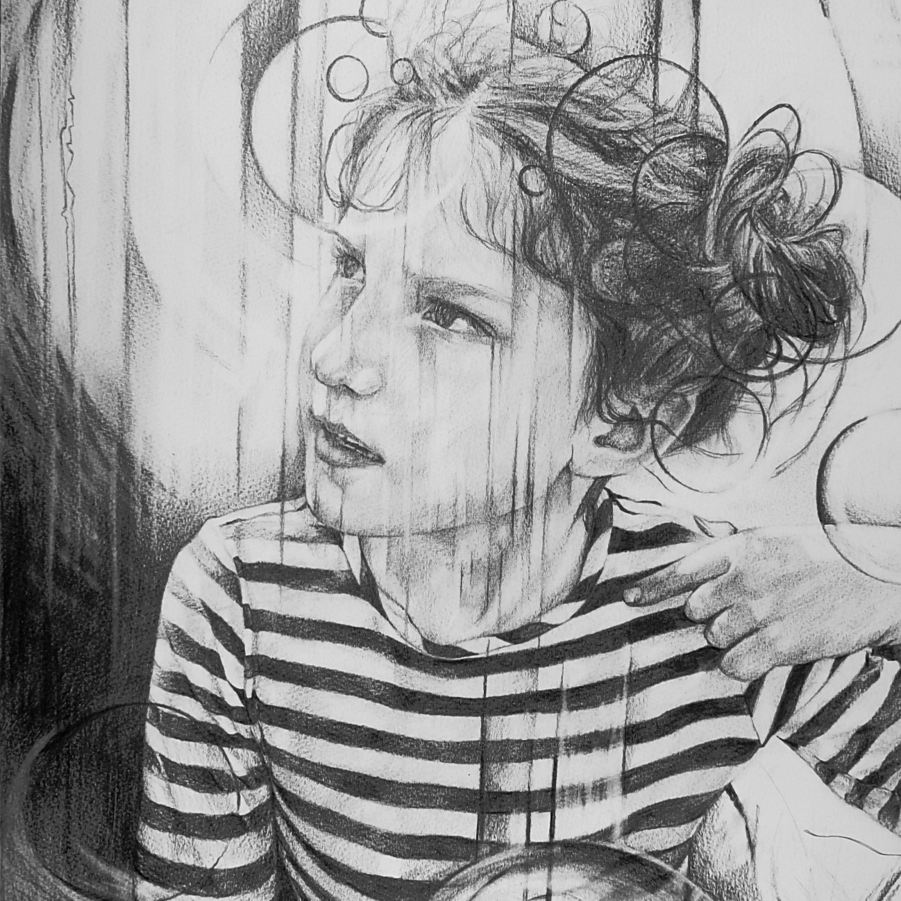 """the magic of Childhood"". A2 graphite on watercolour paper. Contact the Art Project Cardiff for details"