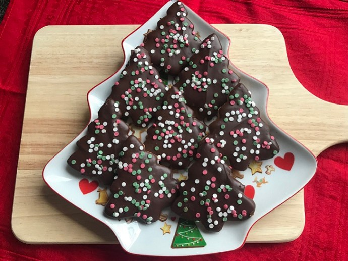 Kerstkoekjes met chocolade, gluten- en lactosevrij