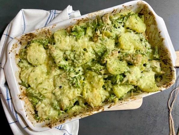 Ovenschotel met broccoli, sperziebonen en kalkoen