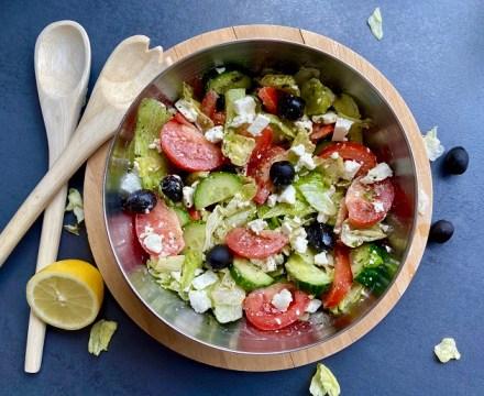 Griekse salade, makkelijk, snel en gezond