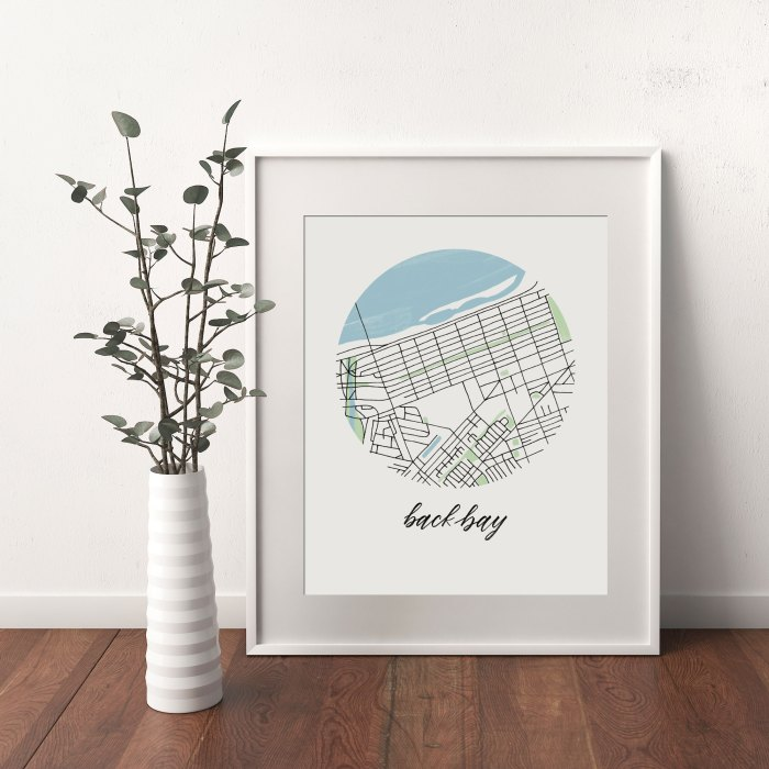 Back Bay, Boston Map print framed and leaning on white wall next to dried leaves in a vase