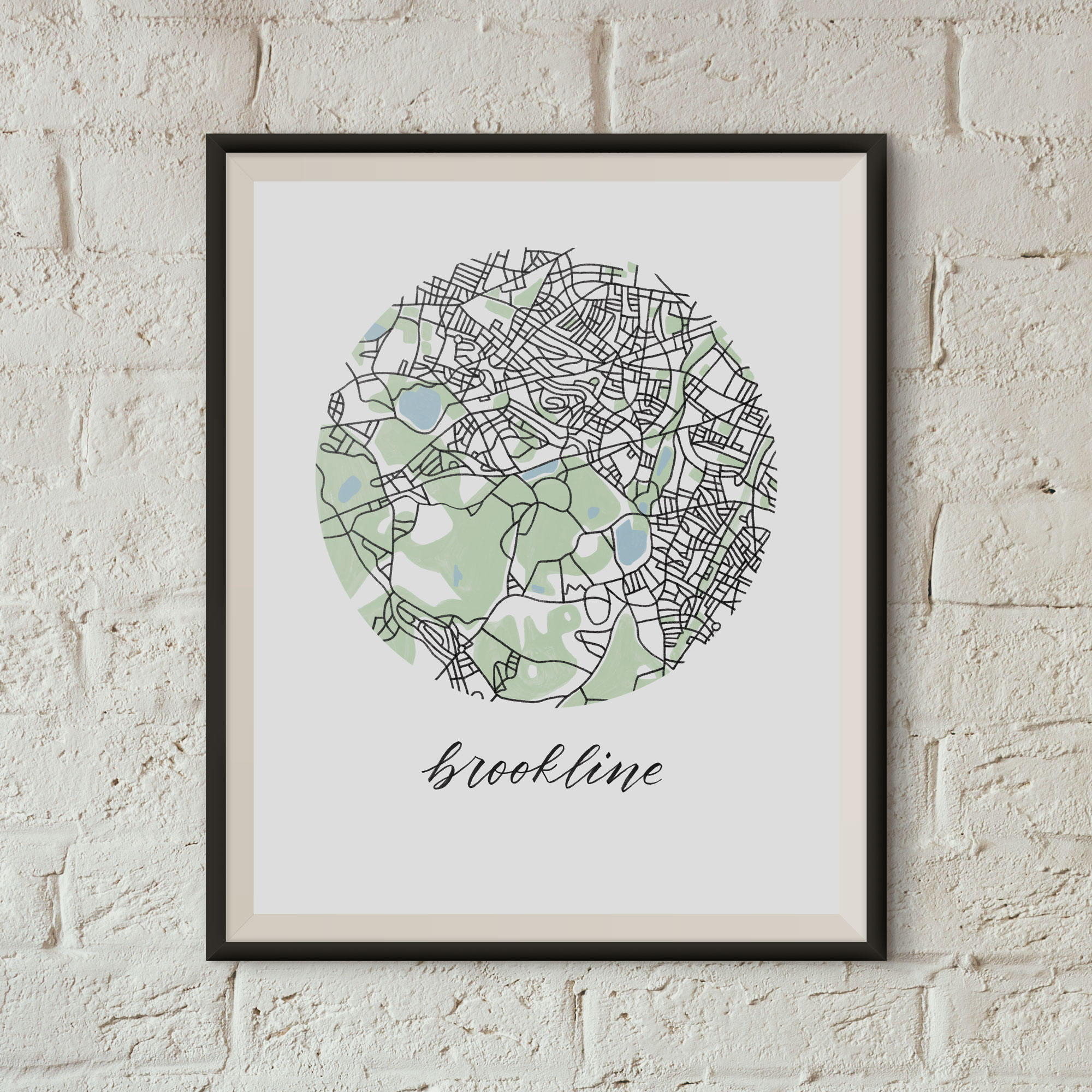Brookline, Boston Map Print framed on a white brick wall