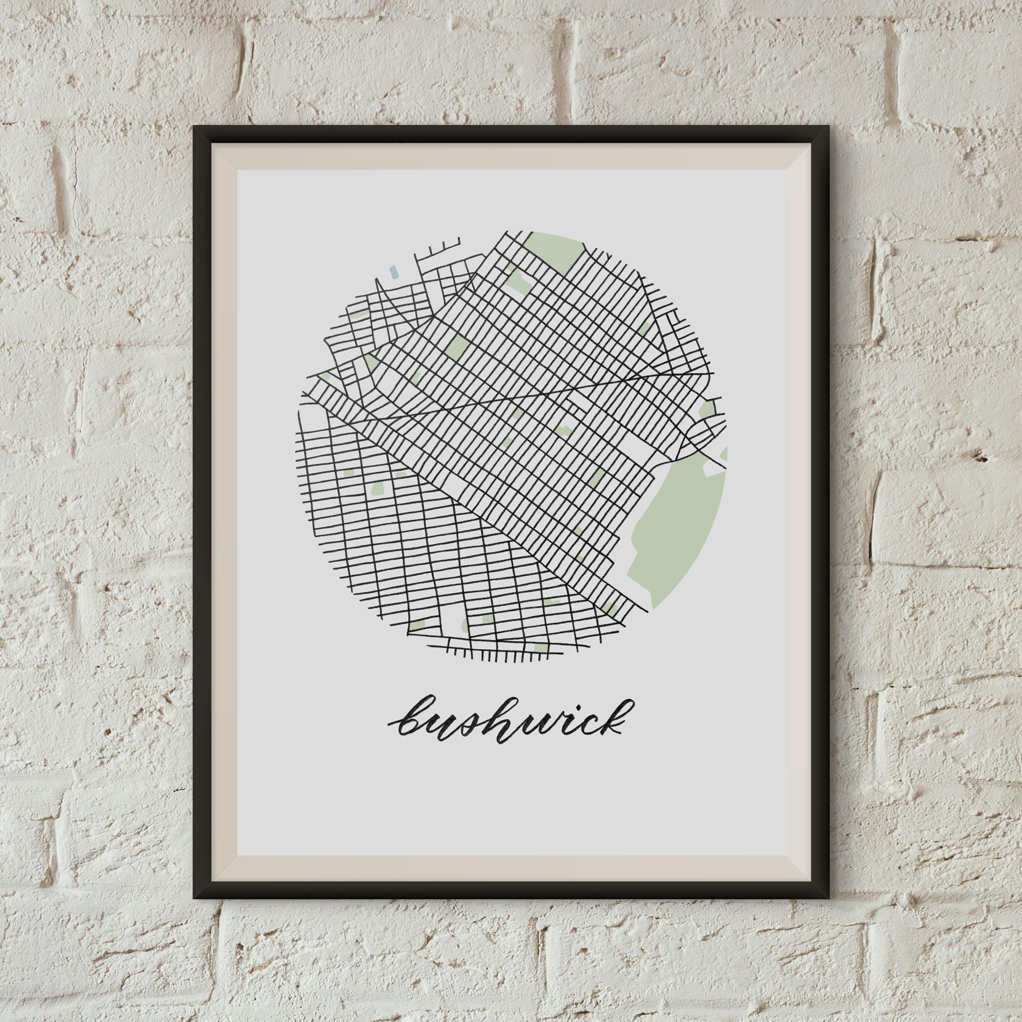 Bushwick, Brooklyn Map Print framed on a white brick wall