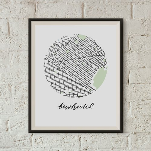 Bushwick, Brooklyn Map Print framed on a white brick wall