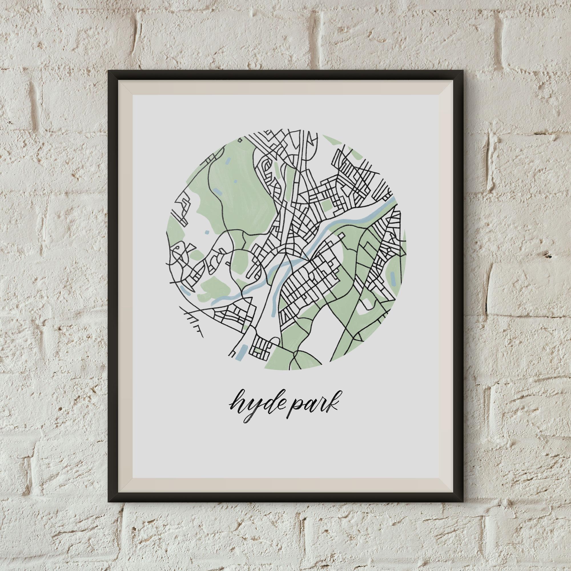 Hyde Park, Boston Map Print framed on a white brick wall