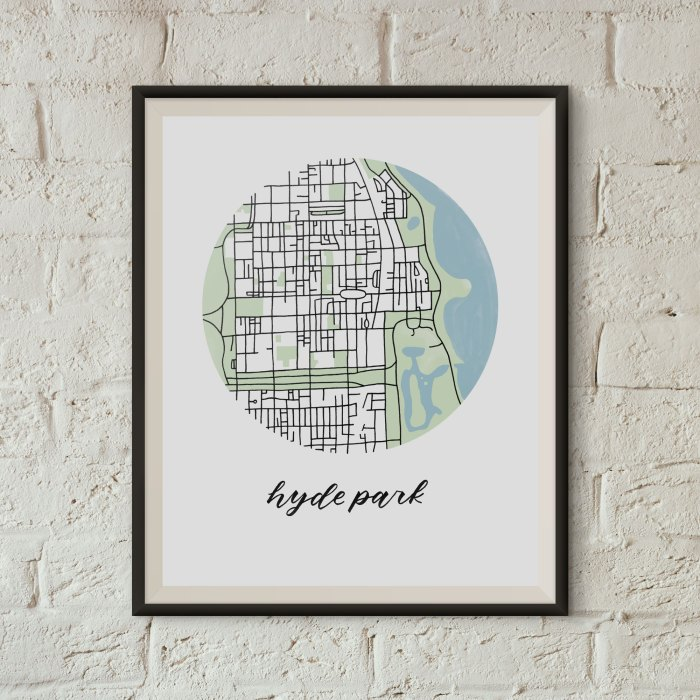 Hyde Park, Chicago Map Print framed on a white brick wall