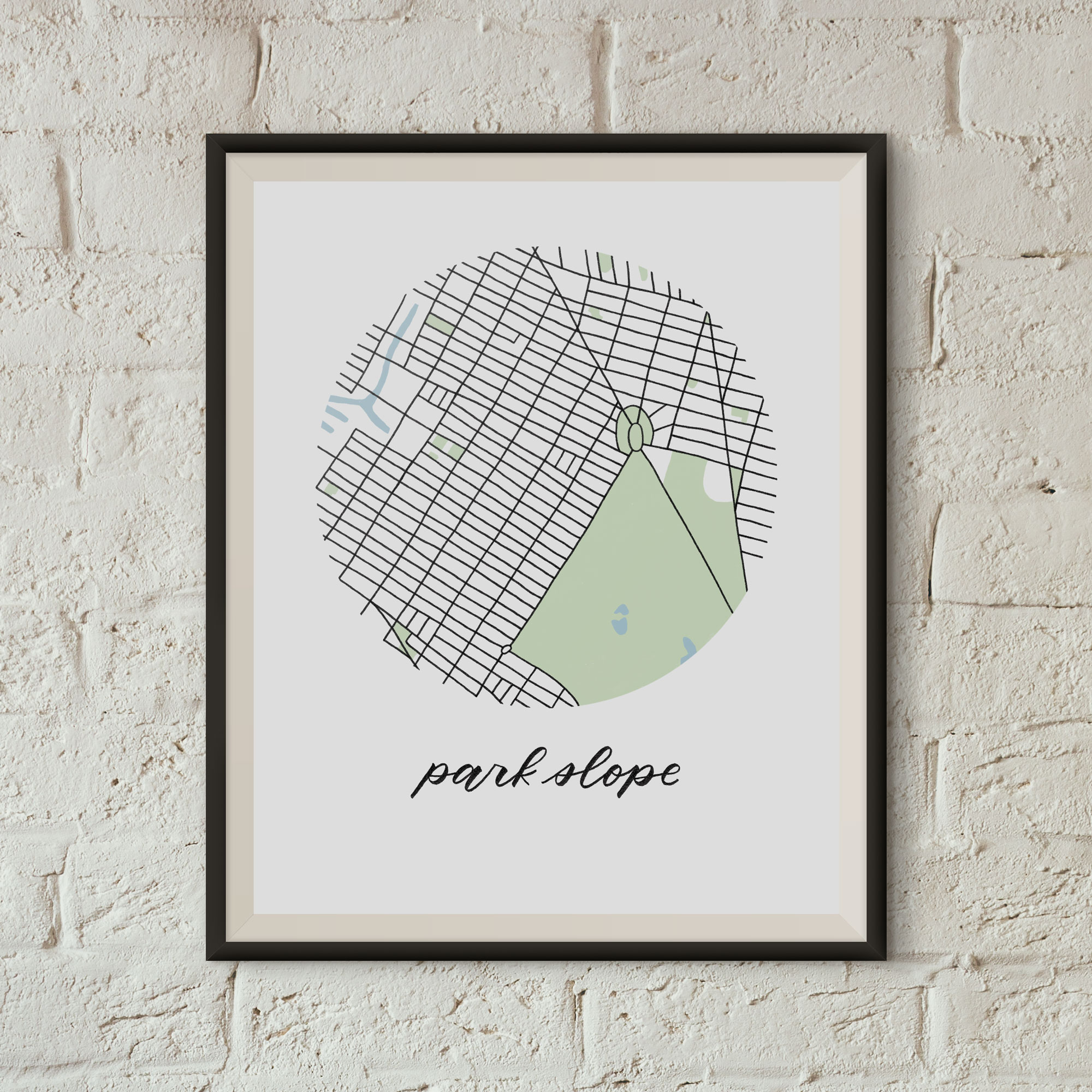 Park Slope, Brooklyn Map Print framed on a white brick wall