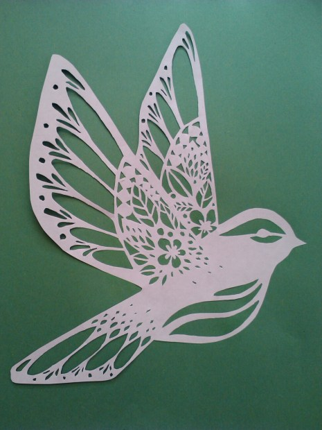 Hummingbird white on green