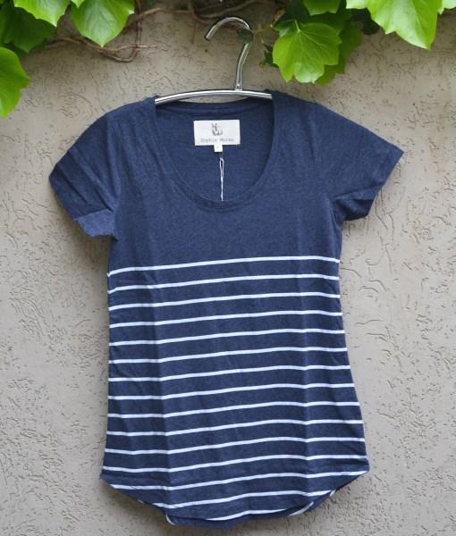 T'shirt denim with white stripes