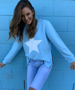 baby blue with white star sweater