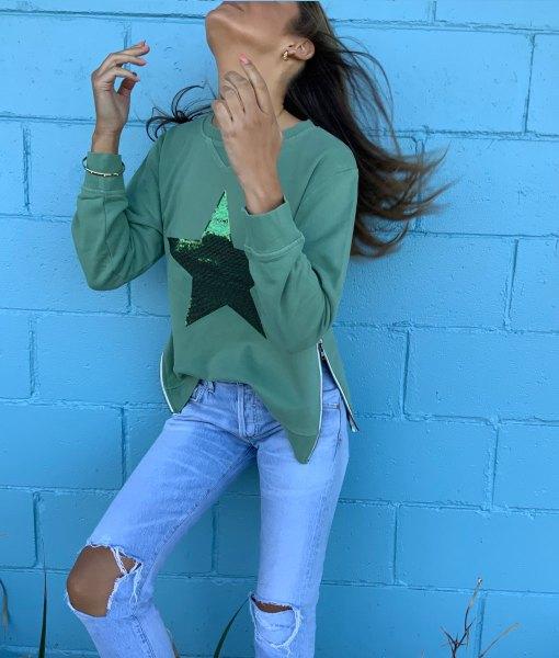 khaki sequin star sweater