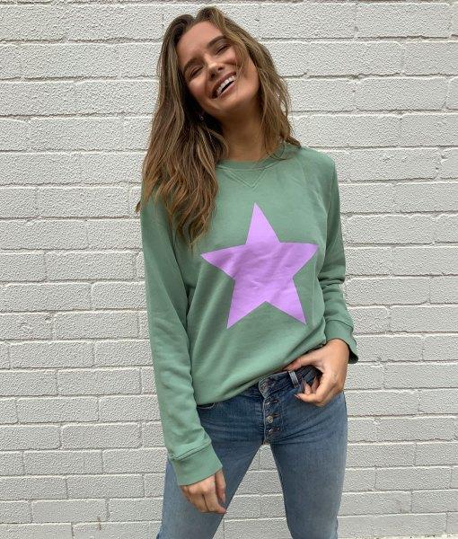 khaki sweater lilac star