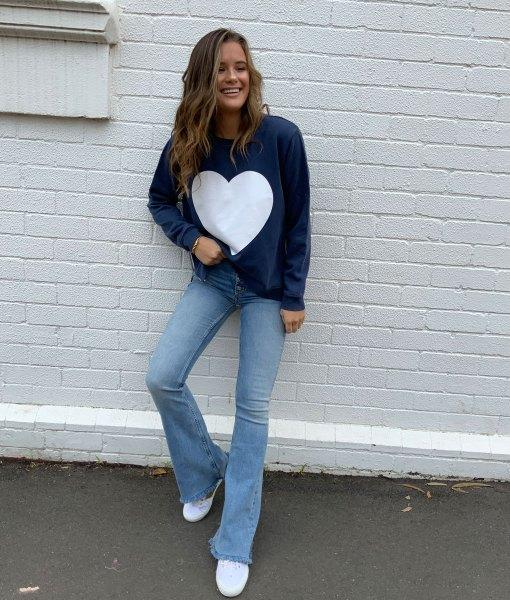 navy sweater white heart