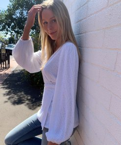 white sequin wrap top