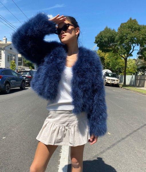 blue turkey feather jacket