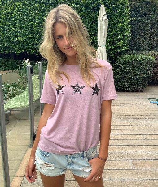 pink tee shirt with 3 stars