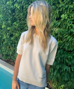 silver short sleeve logo sweater